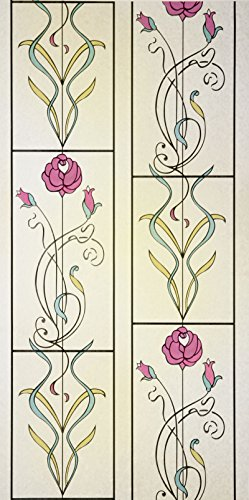 24 X 36 Floral Stained Glass Window Film. Static Cling Film. With Transparency, 3D Effect, Design, Color, Frosted, Privacy, Uv Filtering, Tinted, Crystal, Energy Saving, front-641082