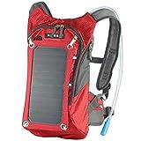 ECEEN ソーラーバックパック 6.5W太陽エネルギーソーラー充電板付 スマートフォン/android/ノートパソコン等対応 10000mAh移動電源 2L水袋搭載 (Red)
