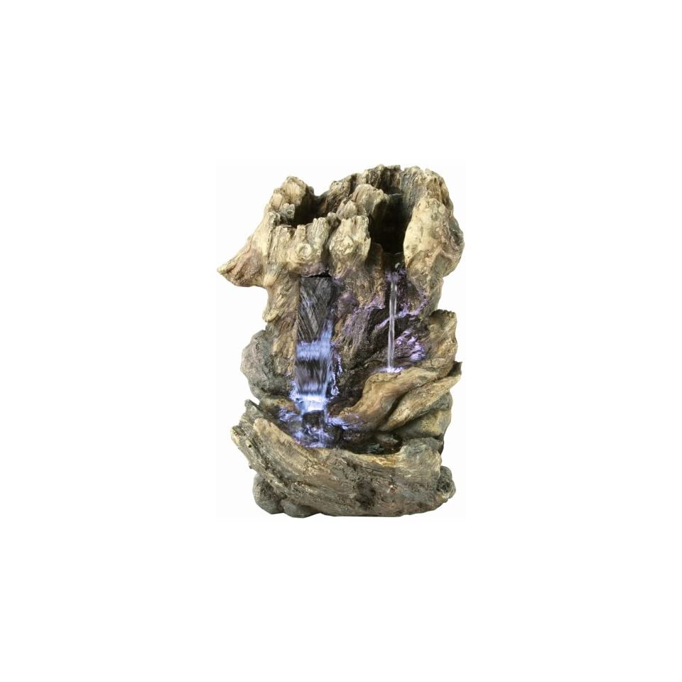 Yosemite Home Decor CW09156 Double Cascade Tree Stump Waterfall Fountain with LED Accent Lighting  Tabletop Garden Fountains  Patio, Lawn & Garden
