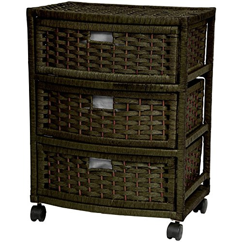 Oriental Furniture Low Price Inexpensive Affordable Nightstand End Tables, 23-Inch 3 Drawer Natural Fiber Rattan Style Storage Chest with Casters-Black