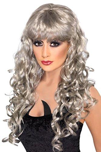 Smiffy's Siren Smiffy Fringe Wig, Silver, One Size