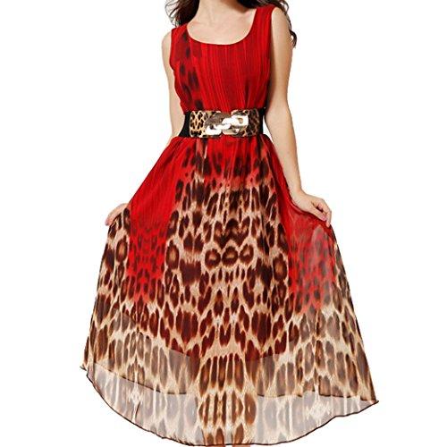 Women Chiffon Leopard Sleeveless Boho Beach Sexy Maxi Dress Size L - Red