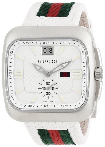 Gucci Men's YA131303 Gucci Coupé White Leather Strap Watch