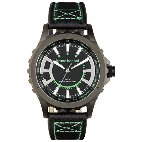 Bruno Banani Men's Quartz Watch Meros Leather Bracelet Black Dial schwarz Trend Watch UBR30022