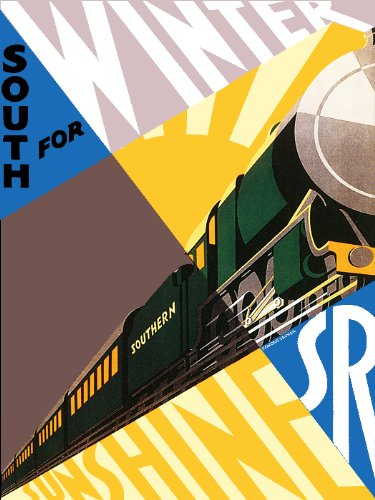 "8x11"" Inches Poster. ""South for Winter Sunshine (Train)"". Decor with Unusual Images. Great Room Art Decoration."