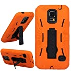 myLife Orange and Shocking Coal Black - Shock Suit Survivor Series (Built in Kickstand + Easy Grip Silicone) 3 Piece + 2 Layer Case for NEW Galaxy S5 (5g) Smartphone By Samsung (External Flex Silicone Bumper Gel + Internal 2 Piece Rubberized Snap Fitted Armor Protector + Shock Absorbing Material)