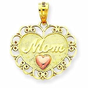 14k Two-tone Mom Heart Pendant