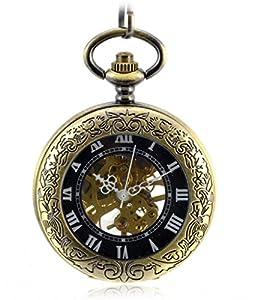 Infinite U Hueco Esqueleto Números Romanos Lupa Acero Reloj de bolsillo mecánico Bronce por Infinite U