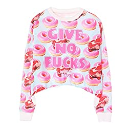 Ancia Girls Teens Cute Sweetshirt Pullover Sweater Long Sleeve(Pink Candies)
