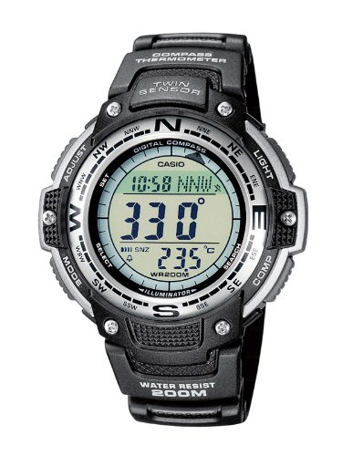 Casio Men's Quartz Watch with Grey Dial Digital Display and Black Resin Strap SGW-100-1VEF