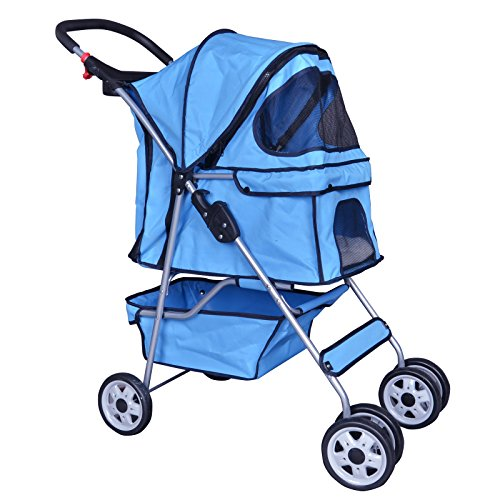 BestPet Blue 4 Wheels Pet Stroller Cat Dog Cage Stroller Travel Folding Carrier 04T