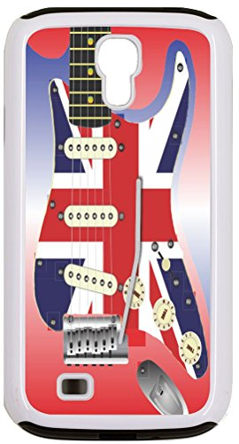Rikki Knighttm Electric Guitar With A Union Jack Scratchplate White Galaxy S4 Tough-It Case Cover For Galaxy S4 (Double Layer Case With Silicone Protection And Thick Front Bumper Protection)