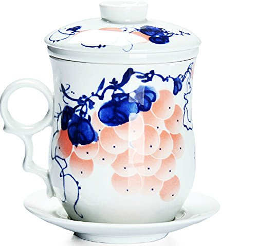 Moyishi Chinese Teaware White Porcelain Bone Tea Cups Tea Mug (With Lid) Love Fruit Grapes