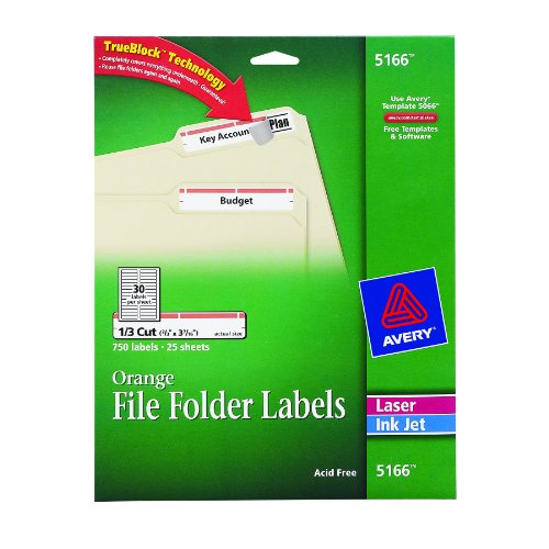 Avery orange file folder labels for laser and inkjet for Avery 5166 template
