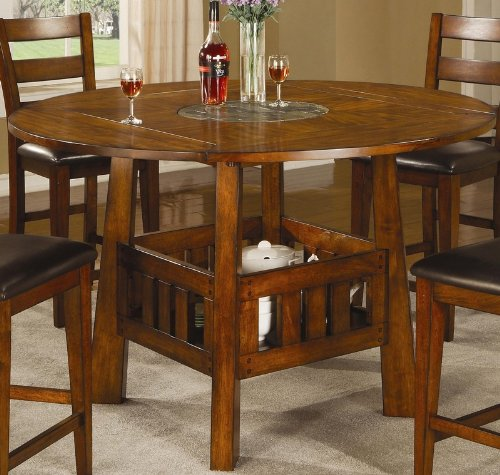 Counter Height Table With Drop Leafs And Lazy Susan In Dark Oak Finish front-209726