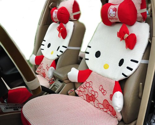 12pcs Summer Cool Kitty Car Rearview Front Back Rear Seat Saddle Cover Case Kit EMS Shipping ZJ000159