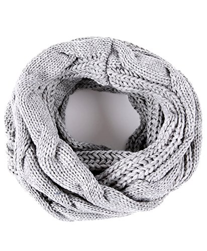 Luxina Twist Infinity Scarf Ribbed Knit Circle Wrap Winter Loop Scarf Grey
