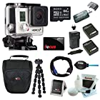 GoPro HERO3 + Silver Edition - (131'/40m Waterproof Housing) + Sony 64GB Class 10 Micro SDHC R40 Memory Card + Wasabi Power Battery & Charger + High Speed USB 2.0 Card Reader + Soft Shell Camera Case + Focus Gift Card + Tripod+ Deluxe Accessory Kit
