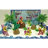 My Little Pony Birthday Cake Topper Featuring 10 Random My Little Pony Characters, Trees, Boulders, Backdrop and Other Themed Decorative Cake Pieces