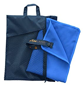 Sunland Microfiber Sports Towels 2 Pack (Dark Blue, 16inch X 32inch)