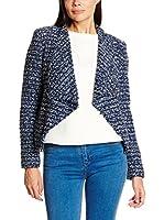 Cortefiel Americana Mujer Fluid Collar Knit Tweed J (Azul Marino)
