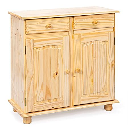 13Casa Credenza a due ante Pamina, in legno massello, color legno, 87 x 88 x 43 cm