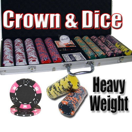 500 Ct Crown & Dice 14 Gram Clay Poker Chip Set w/ Aluminum Case & Free WPT Book 50 clay composite striped dice 11 5 gram poker chips by brybelly