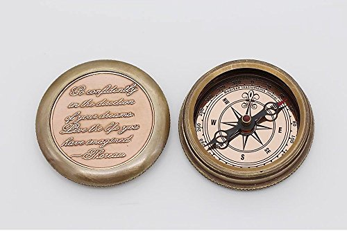 Go Confidently Thoreau's Stamped Quote Compass W/Stamped Mandala Design Case 2