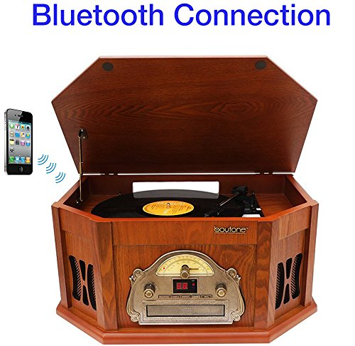 8-in-1 Boytone BT-25CB with Bluetooth Connection Natural Wood Classic Turntable Stereo System, Vinyl Record Player, AM/FM, CD, Cassette Tape, USB, SD slot. 2 Built-in Speakers, Remote Control, MP3 (Turntable Am Fm compare prices)