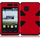 Importer520 Dynamic Hybrid Tuff Hard Case Snap On Phone Silicone Cover Case For LG 840G LG840G TracFone, StraightTalk, Net (Red / Black)