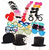 44PCS Colorful Props On A Stick Mustache Photo Booth Party Fun Wedding Christmas Birthday Favor