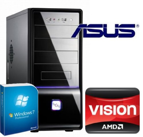 Tronics24 averagesystem AMD FM1 Llano A 3300 2x2.5 GHz (Dualcore), 8 GB DDR3, Asus, AMD HD6410D, 1 TB SATA, Microsoft Windows 7 Professional, DVD-Brenner, Cardreader, Sound, GigabitLan, Office PC