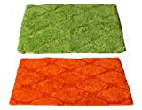 Story@Home Set of 2 Abstract Designer Fancy Super Soft Water Absorbent Anti Skid Superior Quality Luxurious Door or Bath Mats Orange, Green