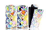 FOR NOKIA ASHA 300 MAGNETIC TOP FLIP LEATHER COVER CASE POUCH - PERFECT FIT (CIRCLE FLOWER SPLASH)