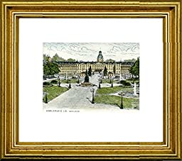 Hand-colored hand-crafted etching Karlsruhe, Schloß (Germany) by Peters in a gold frame, graphics, art design, art print
