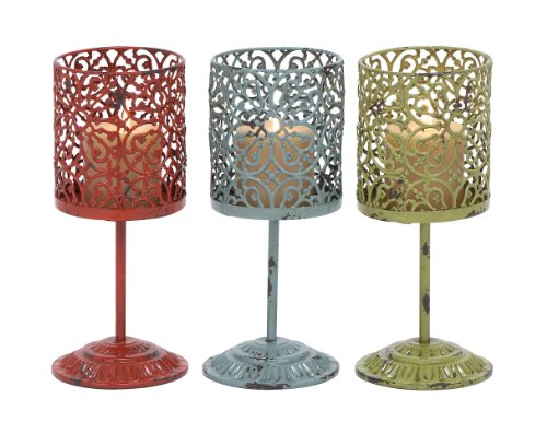 Plutus Brands 3 Assorted Beautiful Metal Candle Holder with Unique Style