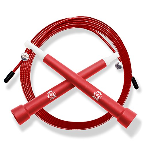 Plastic Fitness Jumprope with Adjustable 11 Foot Cable , Carrying Bag , Bonus 4K eBook and Replacement Parts - Red