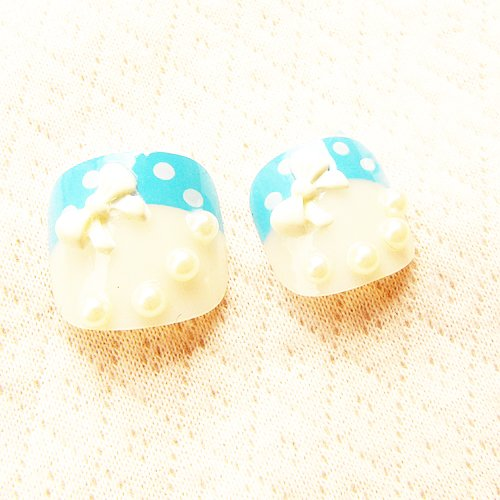 COCO つけ爪 ネイル リボン 3D 真珠風 水色 水玉 模様 華麗 な 3D アート 足の爪 自然な 透明感 つけ爪 のりセット 24片 自分の爪に合わせて選ぶ フリーサイズ