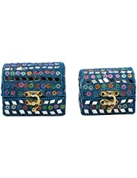 Handcrafted Designer Set Of 2 Gift & Jewellery Boxes In Blue Colour