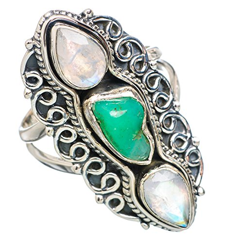 Ana Silver Co Large Chrysoprase, Rainbow Moonstone 925 Sterling Silver Ring Size 8.5 RING