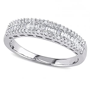 Ladies Three Row Baguette and Round Diamond Semi Eternity Wedding Band in 14k White Gold 0.33ct