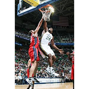 New Jersey Nets v Utah Jazz: Paul Millsap and Kris Humphries Photographic Poster Print by Melissa Majchrzak, 24x36