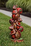 Jeweled Garden, Squirrel Totem Statuary,Polystone,11x9x24 Inches