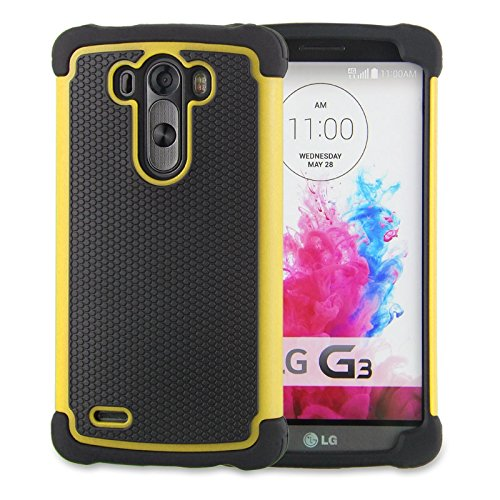 LG G3 Case,G3 Case Protective*HOT* [Drop Protection][shockproof][Rugged],Rubber+Hard case cover and Dual Layer Protective Case for LG G3(2015)-(yellow) (Lg G3 Phone Case Speck compare prices)