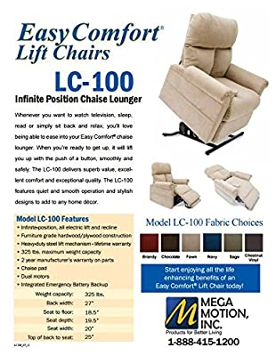 Mega Motion LC-100 Infinite Position Lift Chair Chestnut Vinyl - Heat and Massage