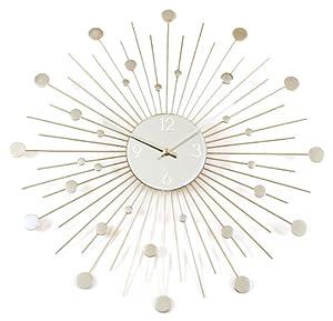 Starburst Retro Wall Clock, Silver