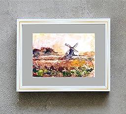 1 0 x 7, Wind mill landscape, watercolor original by Andrejs Bovtovics.