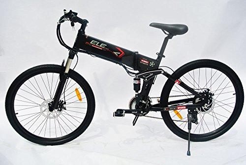 elecycle 250W Elektro-Fahrrad 66cm mit Shimano 21Geschwindigkeiten zusammenklappbar Mountain Bike in schwarz mit LED Display
