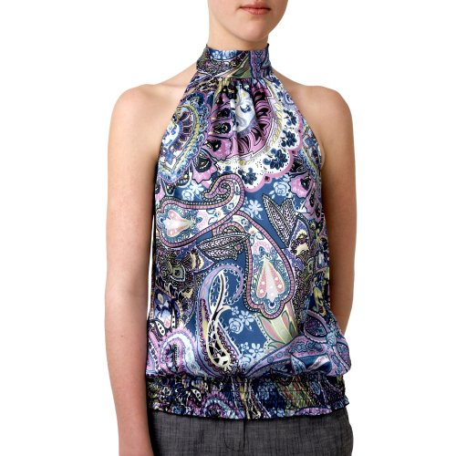 A. Byer Junior's Print Charmeuse Halter With Shirred Waistband