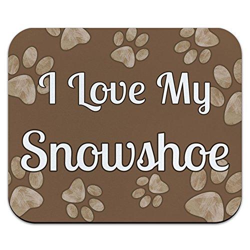 I Love My Schneeschuhe, Braun mit Pfotenabdrücken Mouse Pad, Mousepad